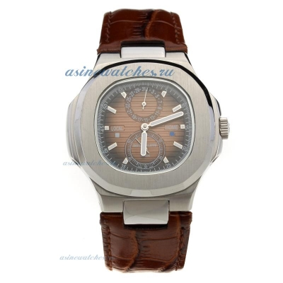 Replica Patek Philippe Nautilus Automatic with Brown Dial-Leather Strap online