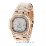 Replica Patek Philippe Nautilus Automatic Full Rose Gold Diamond Bezel with Silver Dial online
