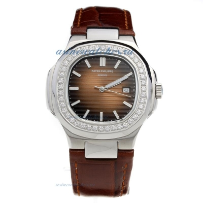 Replica Patek Philippe Nautilus Diamond Bezel with Brown Dial-Leather Strap online