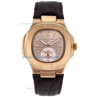 Replica Patek Philippe Nautilus Automatic Rose Gold Case with Rose Gold Dial Leather Strap-1 online