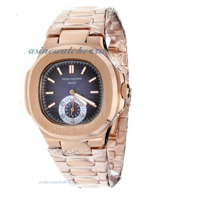 Replica Patek Philippe Nautilus Automatic Full Rose Gold with Blue Dial-2 online