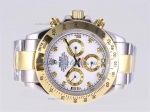 Discount Rolex Daytona Automatic Two Tone Diamond Marking with White Dial sale