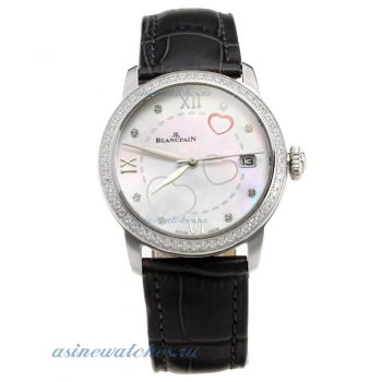 Blancpain Diamond Bezel with MOP Dial-Black Leather Strap on sale