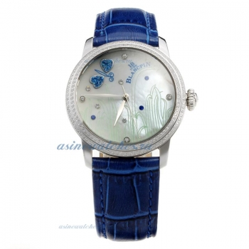 Blancpain Diamond Bezel with MOP Dial-Blue Leather Strap-1 on sale
