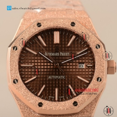 Cheap Audemars Piguet Royal Oak 3120 Auto Rose Gold Case with Brown Dial For Sale - (EF)