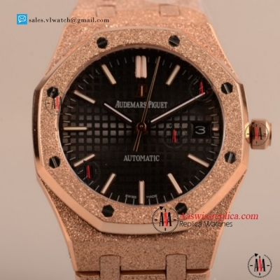 Cheap Audemars Piguet Royal Oak 41MM 3120 Auto Rose Gold Case with Black Dial For Sale - (EF)