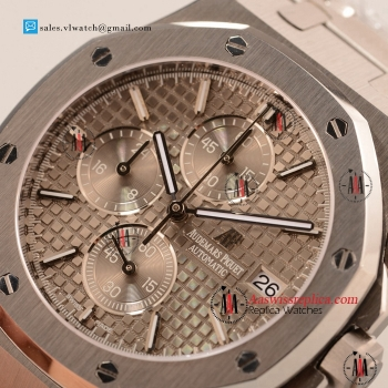 Cheap Audemars Piguet Royal Oak Chronograph Miyota OS10 Quartz Steel Case with Grey Dial For Sale