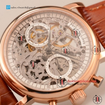 Patek Philippe Complications Chronograph 7750 Auto Rose Gold Case with Skeleton Dial For Sale