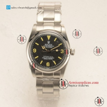 Rolex Explorer Tiffany & Co. Steel Case with Black Dial Steel Bezel For Sale