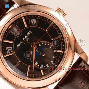 Patek Philippe Cosmograph Daytona Japanese Miyota 9015 Auto Rose Gold Case With Black Dial For Sale