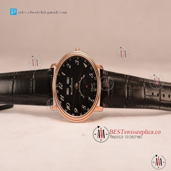 BlancPain Villeret Miyota 9015 Automatic Rose Gold Case with Black Dial Arabic and Black Leather Strap (EF)