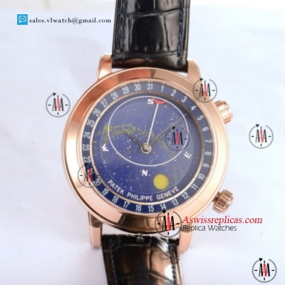 Patek Philippe Grand Complication Sky Moon Celestial 9015 Auto Rose Gold Case With Blue Dial For Sale