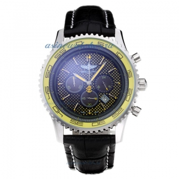 Cheap replica Breitling Chronospace Working Chronograph with Yellow Dial Leather Strap online sale