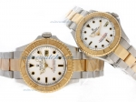 Cheap replica Rolex Yacht-Master Swiss ETA 2836 Movement Two Tone with White Dial sale in this store