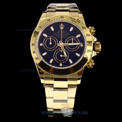 Discount Rolex Daytona Swiss Calibre 4130 Chronograph Movement Full Gold Stick Markers with Black Di