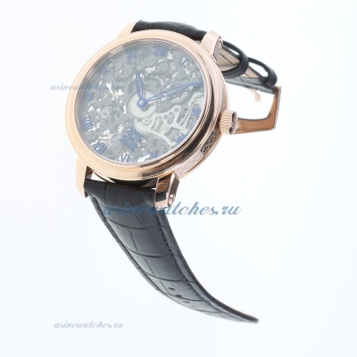 Replica Patek Philippe Manual Winding Rose Gold Case with Skeleton Dial-Leather Strap online