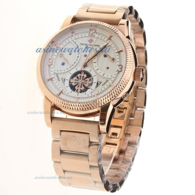 Replica Patek Philippe Tourbillon Automatic Full Rose Gold with White Dial online
