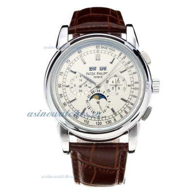 Replica Patek Philippe Perpetual Calendar Automatic with White Dial-Leather Strap-Stick Markers onli