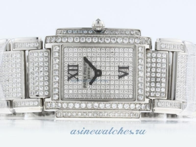 Replica Patek Philippe Twenty-4 Hours Swiss ETA Movement with Full Diamond-Lady Size online