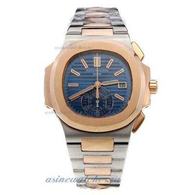 Replica Patek Philippe Nautilus Swiss Valjoux 7750 Movement Two Tone with Blue Dial online
