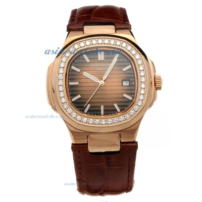 Replica Patek Philippe Nautilus Rose Gold Case Diamond Bezel with Brown Dial-Leather Strap online