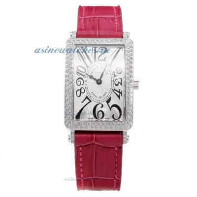 Cheap designer Franck Muller Long Island Diamond Bezel with White Dial-Peachblow Leather Strap