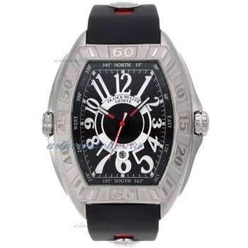 Cheap designer Franck Muller Conquistador Automatic with Black Dial Rubber Strap-1