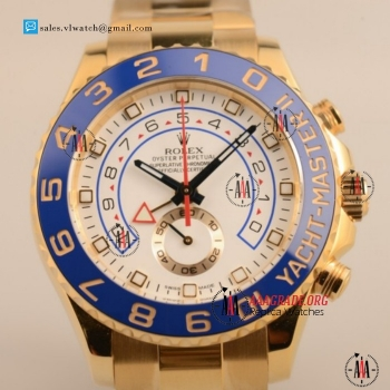 1:1 Cheap Rolex Yacht-Master II 7750 Auto Chronograph Yellow Gold Case with White Dial For Sale (JF)