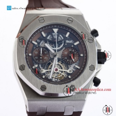 Audemars Piguet Royal Oak Offshore Tourbillon Chronograph Miyota Quartz Steel Case With Brown Dial For Sale