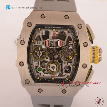 Richard Mille RM11-03 Swiss Valjoux 7750 Auto Steel Case With Grey Rubber Strap For Sale - (KV)