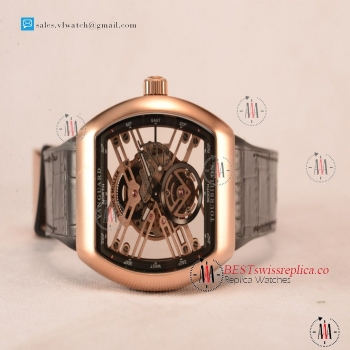 Franck Muller Vanguard Miyota Automatic Copy Tourbillon Rose Gold Case With Skeleton Dial Leather/Rubber Strap