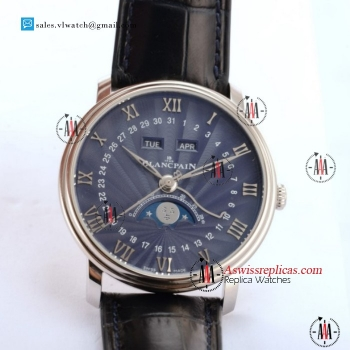BlancPain Villeret Moonphase & Complete Calendar 9015 Auto Steel Case With Blue Dial For Sale