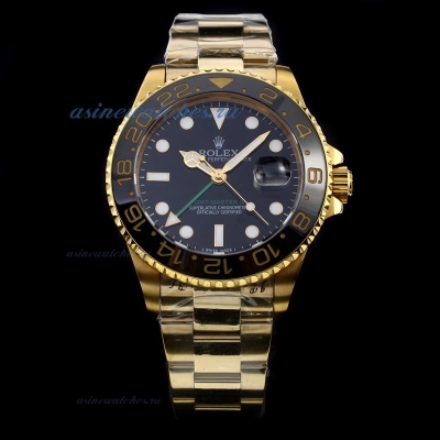 Cheap replica Rolex GMT-Master II Swiss ETA 2836 Movement Full Gold with Black Dial-Ceramic Bezel