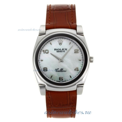 Cheap replica Rolex Cellini Stick/Number Markers with Green MOP Dial Brown Leather Strap online