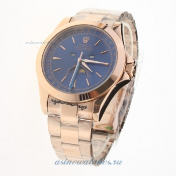 Rolex Oyster Perpetual Full Rose Gold with Blue Dial