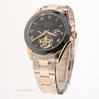 Rolex Oyster Perpetual Tourbillon Full Rose Gold Ceramic Bezel with Black Dial