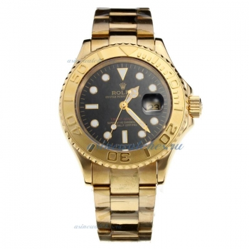 Cheap replica Rolex Yacht-Master Swiss ETA 2836 Movement Full Gold with Black Dial 1 sale in this st