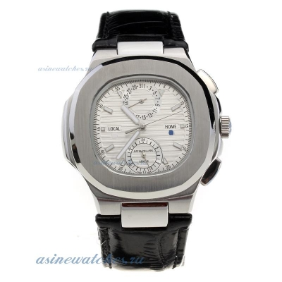 Replica Patek Philippe Nautilus with Silver Dial-Leather Strap online