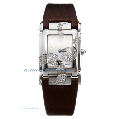 Replica Patek Philippe Twenty-4 Hours with White Dial-Brown Leather Strap online
