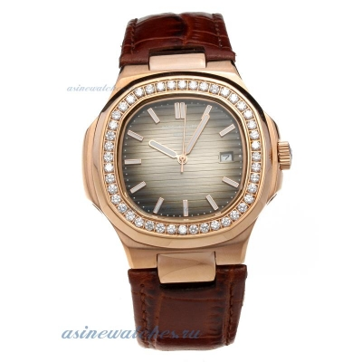 Replica Patek Philippe Nautilus Rose Gold Case Diamond Bezel with Dark Gray Dial-Leather Strap onlin