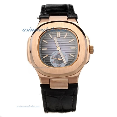 Replica Patek Philippe Nautilus Automatic Rose Gold Case with Blue Dial-Leather Strap-1 online