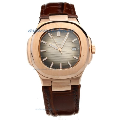Replica Patek Philippe Nautilus Rose Gold Case with Dark Gray Dial-Leather Strap online