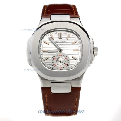 Replica Patek Philippe Nautilus Automatic with Silver Dial-Leather Strap-1 online