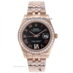 Cheap replica Rolex Datejust II Automatic Full Rose Gold Diamond Bezel Roman Markers with Black Dial