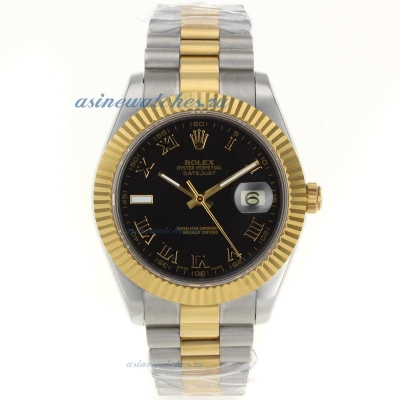 Cheap replica Rolex Datejust II Swiss ETA 2836 Movement Two Tone Roman Markers with Black Dial 3 onl