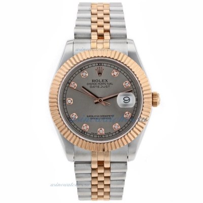 Cheap replica Rolex Datejust II Swiss ETA 2836 Movement Two Tone Diamond Markers with Gray Dial onli