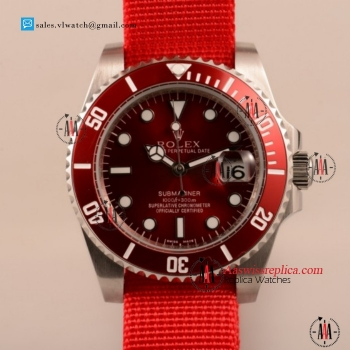 Cheap Rolex Submariner Asia Auto Steel Case with Red Nylon Strap For Sale