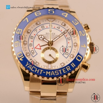 Cheap Rolex Yacht-Master II 7750 Auto Chronograph Yellow Gold Case with White Dial For Sale (BP)