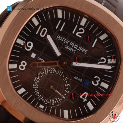 1:1 Patek Philippe Aquanaut Travel Time 9015 Auto Rose Gold Case with Brown Dial For Sale