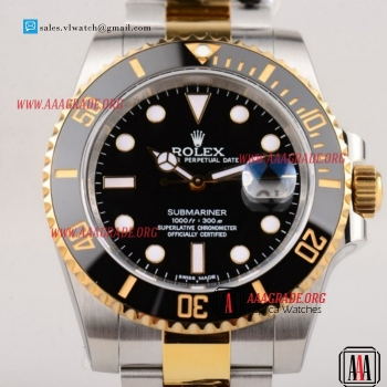 Cheap Rolex Submariner 3135 Auto Two Tone Case with Black Dial For Sale - 1:1